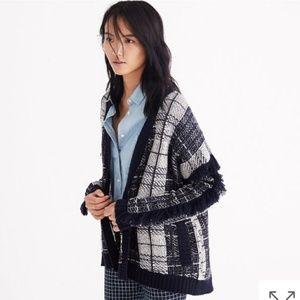 Madewell Plaid Fringe Cardigan Sweater NWT